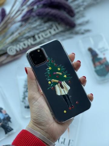 Чехол силиконовый прозрачный Iphone 11 pro max /christmas tree/