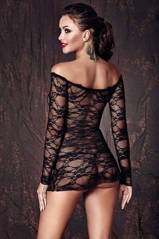Сорочка черная кружевная короткая эротичная сексуальная красивая польская по фигуре с открытыми плечами вид сзади