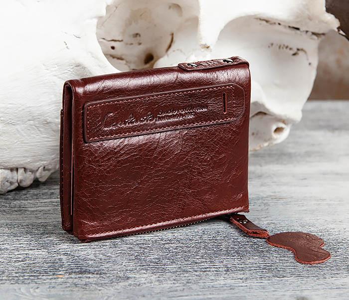 WL250-3 Красный мужской кошелек из натуральной кожи фото 03