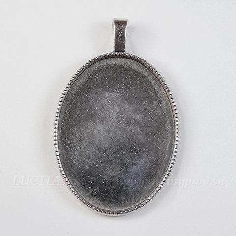 """Сеттинг - основа - подвеска """"Миледи"""" для камеи или кабошона 40х30 мм (цвет - античное серебро)"""