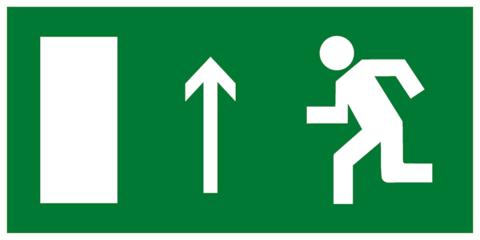 Эвакуационный знак Е12 - Направление к эвакуационному выходу прямо (левосторонний)