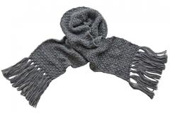 Вязаный шерстяной шарф серый 7027