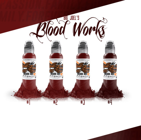 Краска World Famous Tattoo Ink Big Joel's Blood Works Color Set - 4шт