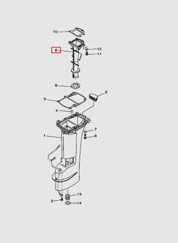 Труба выпускного коллектора  для лодочного мотора T15, OTH 9,9 SEA-PRO (15-8)