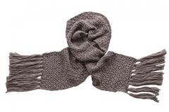 Вязаный шерстяной шарф коричневый 7026