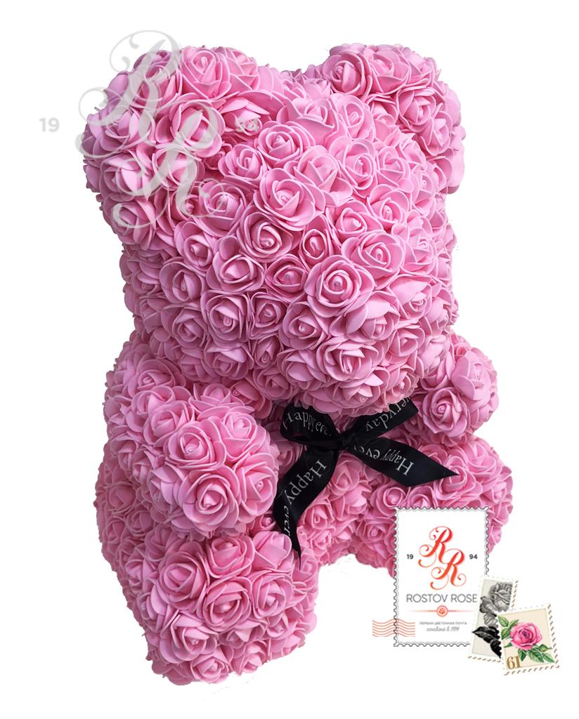 Мишка розовый с бантом