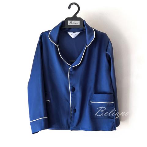 Стильная натуральная шелковая детская пижама. Цвет синий сапфир.