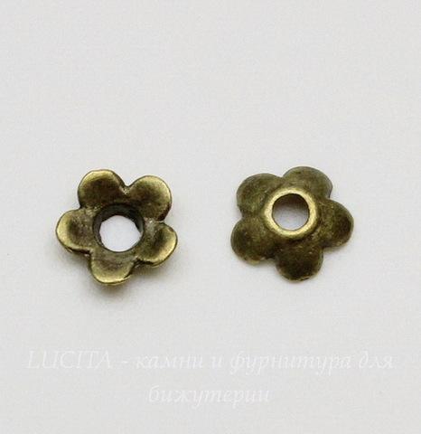"""Шапочка для бусины """"Маленький цветочек"""" (цвет - античная бронза) 6х2 мм, 10 штук"""