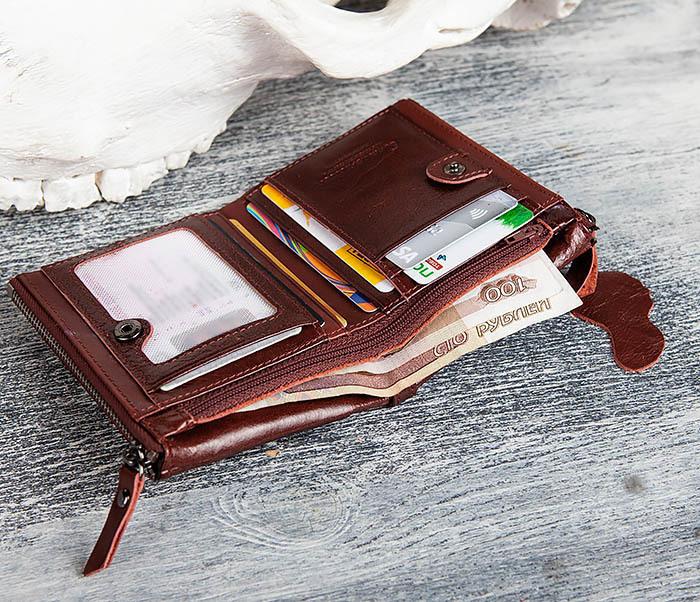 WL250-3 Красный мужской кошелек из натуральной кожи фото 09