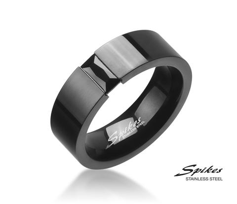Мужское стальное гладкое кольцо черного цвета