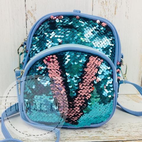 Рюкзак-сумка Трансформер с пайетками меняющие цвет Голубой-Серебристый