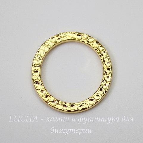 """Коннектор - кольцо TierraCast """"Hammertone"""" 19 мм (цвет-золото)"""