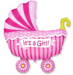 Коляска для девочки (розовая), F 40