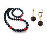 Комплект Giorno e Notte черно-красный (серьги на серебре, ожерелье, браслет)