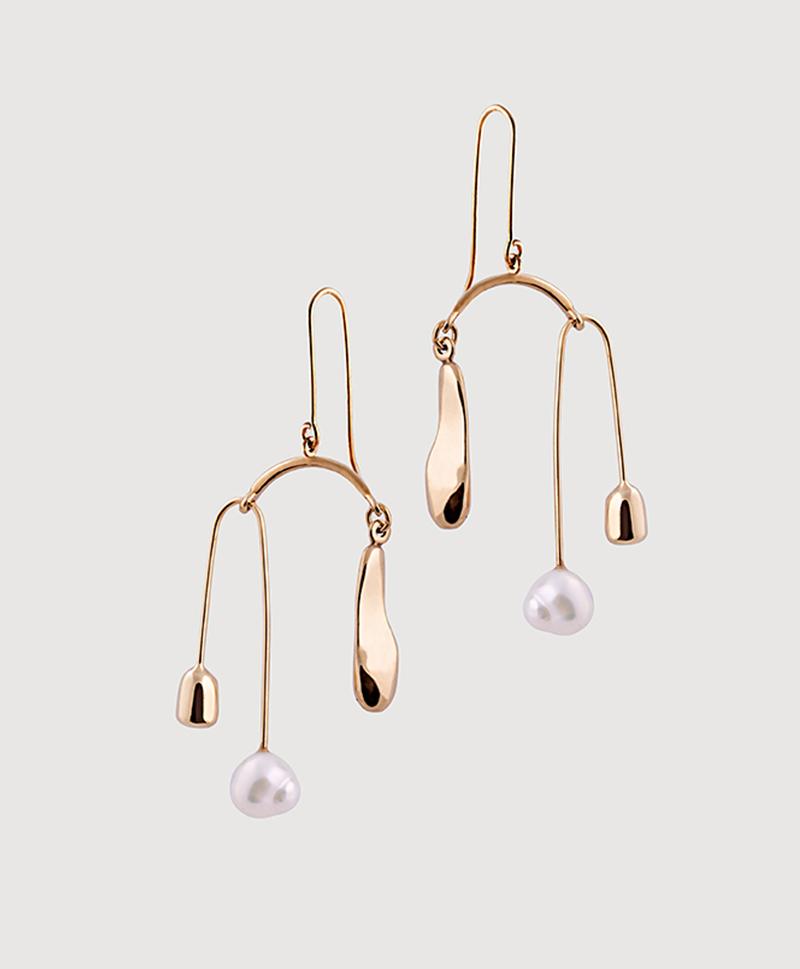 Золотые тройные серьги с жемчугом