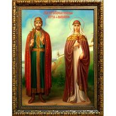 Петр и Феврония Муромские Святые Благоверные. Икона на холсте.