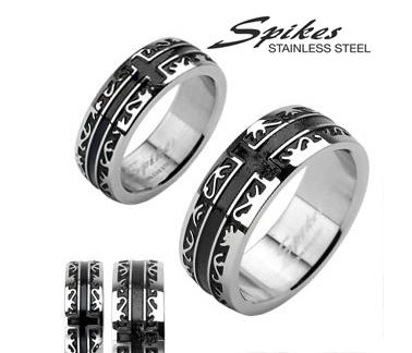 R-H1001M Мужское кольцо «Spikes» из ювелирной стали, чернение