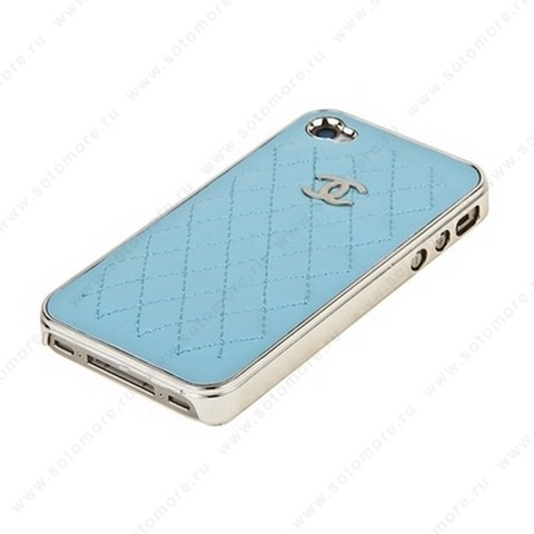 Накладка CHANEL для iPhone 4s/ 4 серебряная+светло-бирюзовый кожа