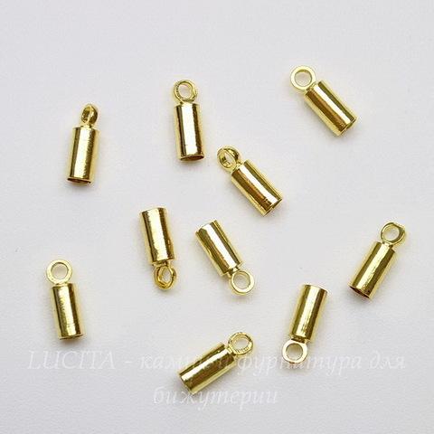 Концевик для шнура 2,2 мм (цвет - золото) 8х3 мм, 10 штук