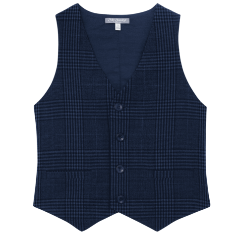 Blue Check Wool Vest