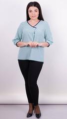 Леона принт. Стильная блуза больших размеров. Мята.