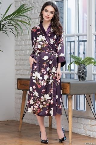 Длинный шелковый халат Mia Amore Magnolia 3529 (70% шелк)