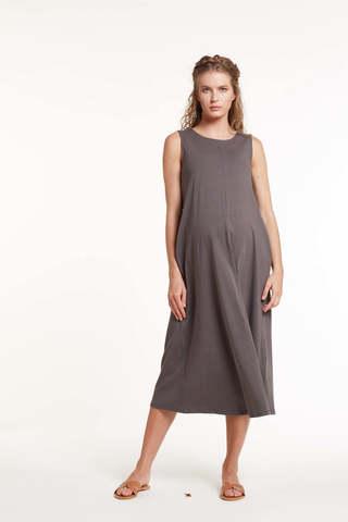 Платье для беременных и кормящих 11494 темно-серый