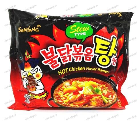 Корейская пшеничная лапша со вкусом курицы острая Samyang Hot chicken, 145 гр.