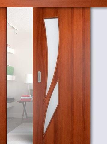 Дверь раздвижная Сибирь Профиль Стрелиция (С-2), цвет итальянский орех, остекленная