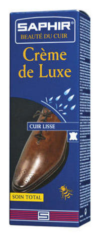 Крем для гладкой кожи тюбик с губкой, sphr0023 Saphir Creme de luxe 75 мл, (13 цветов)