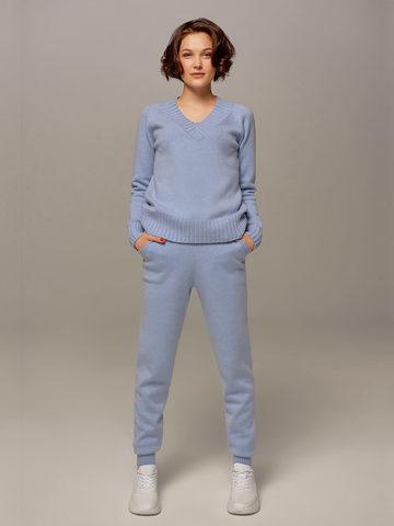 Женский джемпер голубого цвета из шерсти и кашемира - фото 4