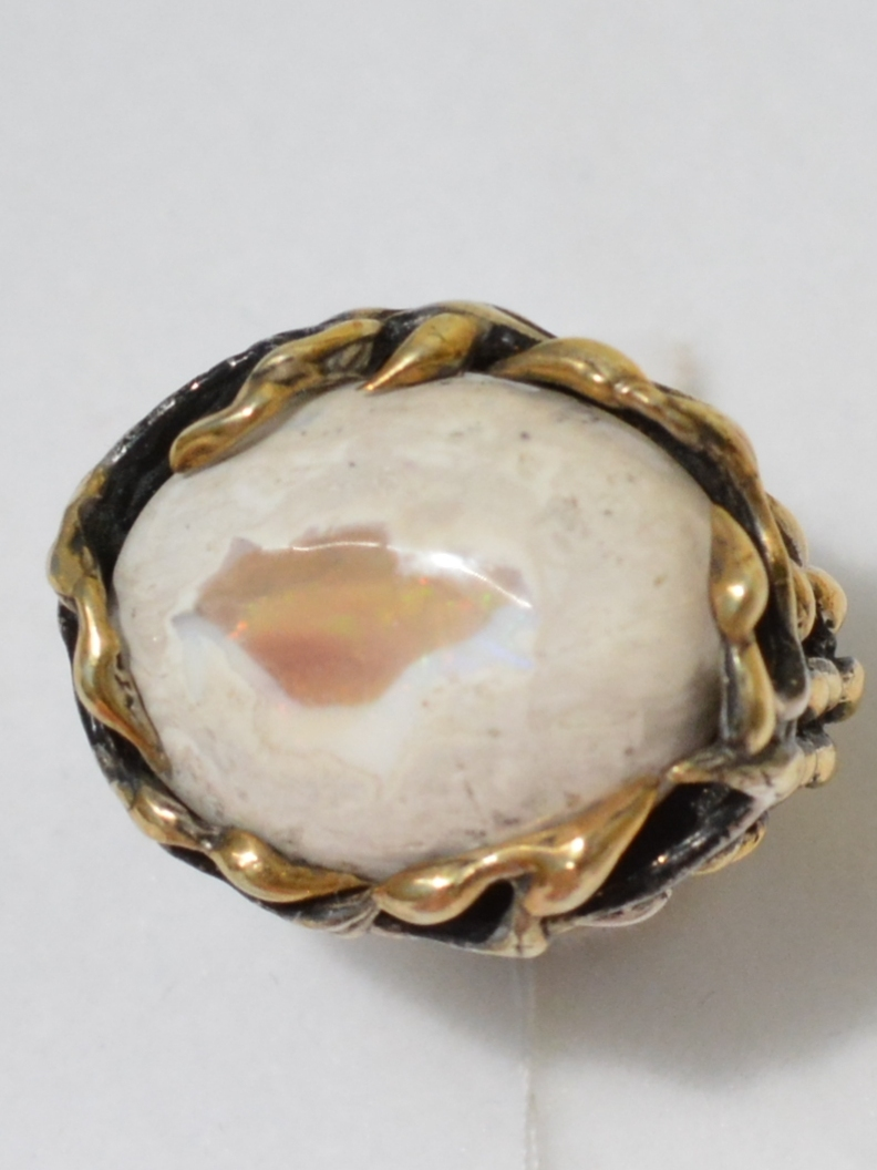 Габби-опал(серебряное кольцо с позолотой)
