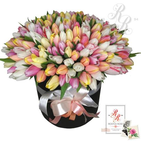 201 Разноцветный тюльпан в коробке
