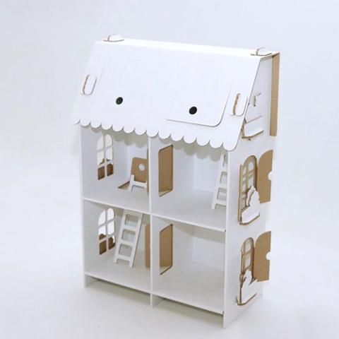 """Кукольный домик из картона """"Четыре комнаты"""", белый CD-4ROOMS-W ТМ""""Картонный папа"""""""