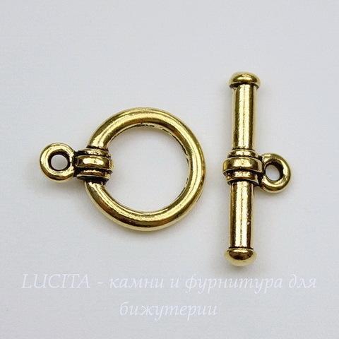 Замок - тоггл из 2х частей TierraCast (цвет-античное золото) 16х12 мм, 19х7 мм
