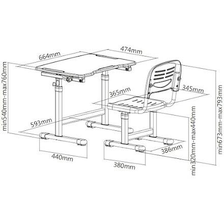 Комплект: парта и стул-трансформеры PICCOLINO II размеры схема