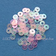 Пайетки розовые прозрачные с эффектом AB, 3 мм, 10 грамм