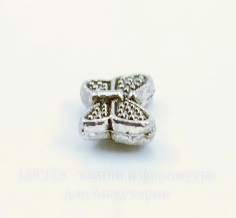 """Бусина металлическая """"Бабочка"""" 10х6 мм (цвет - античное серебро), 10 штук"""