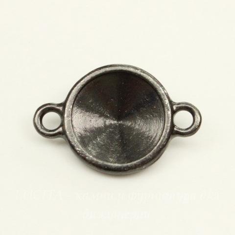 """Сеттинг - основа - коннектор (1-1) TierraCast """"Грани"""" для страза 12 мм (цвет-черный никель)"""