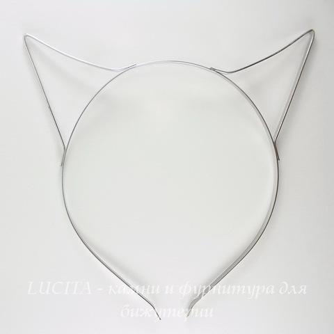"Ободок для волос 4,6 мм""Ушки"" (цвет - античное серебро)"