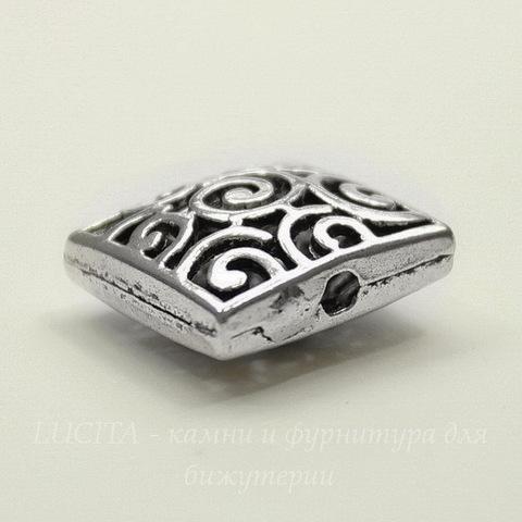 """Бусина металлическая квадратная """"Завитки"""" (цвет - античное серебро) 15х15 мм"""