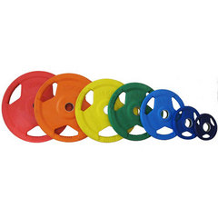 """Диск """"олимпийский"""" (50мм) 5 кг обрезиненный цветной с тройным хватом"""