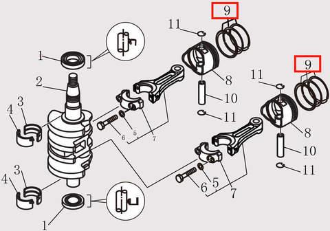 Кольцо поршневое для лодочного мотора F9.8 Sea-PRO (10-9)