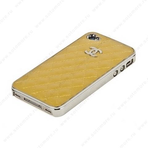 Накладка CHANEL для iPhone 4s/ 4 серебряная+золотая кожа