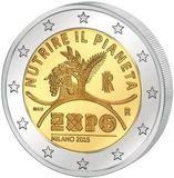 Италия 2015 год 2 евро Expo Экспо 2015 в Милане  UNC из ролла