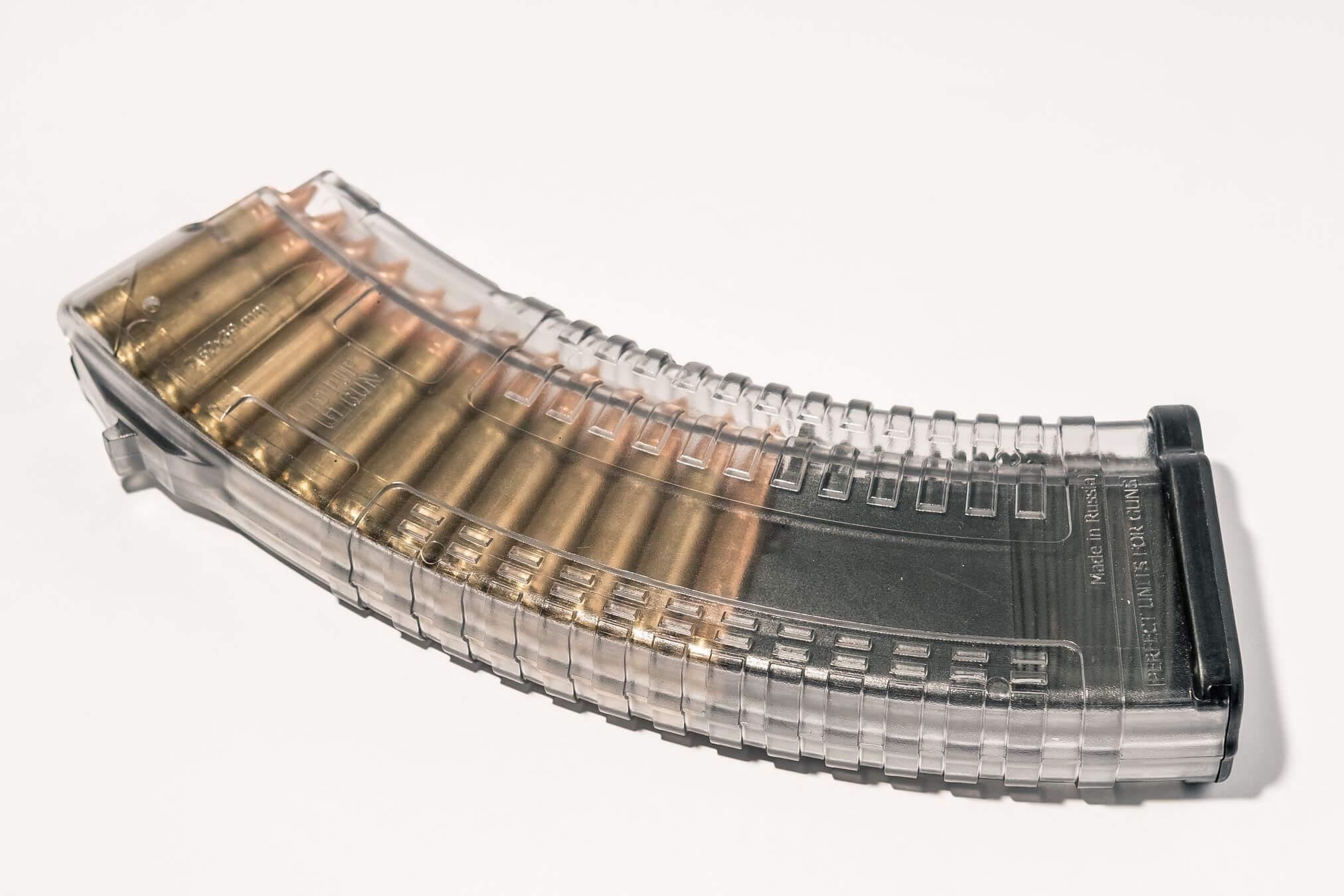 Магазин Pufgun для АКМ 7.62x39 ВПО-136 ВПО-209 на 30 патронов, прозрачный