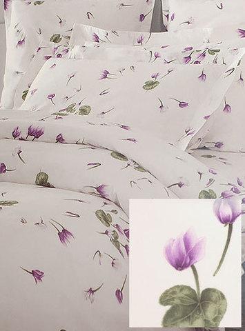 Постельное белье 2 спальное евро Mirabello Ciclamini бежевое с сиреневыми цветами