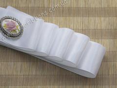 Лента атласная Люкс белая однотонная 38 мм