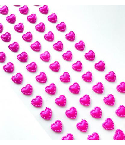 Стразы самоклеющиеся сердечки жемчужные 70 шт малиновые