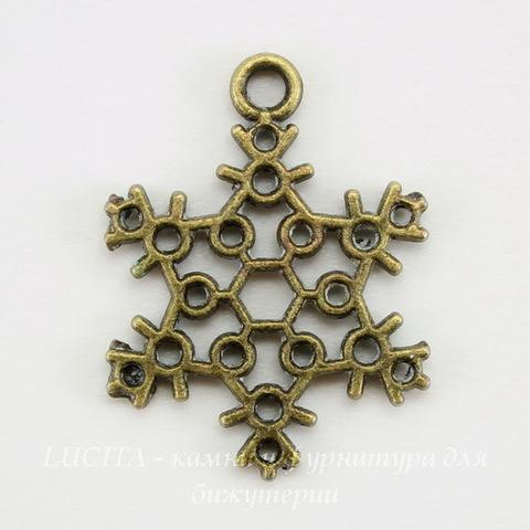 """Подвеска """"Снежинка"""" филигранная (цвет - античная бронза) 23х17 мм"""